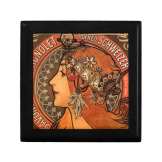 Art Nouveau Jewelled Lady Ceramic Tile Box Small Square Gift Box