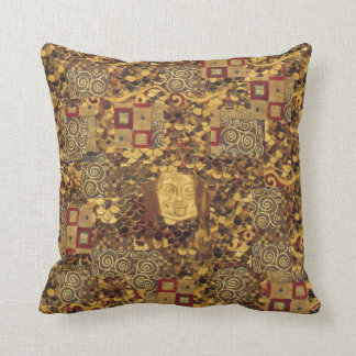 Art Nouveau Klimt Gold Brown Red Pillow