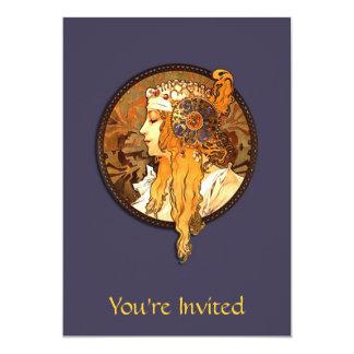 "Art Nouveau Lady Bridal Shower Invitation 5"" X 7"" Invitation Card"