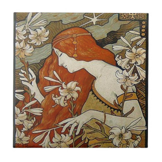 Art Nouveau Lady Flowers Floral Woman Vintage Ceramic Tile