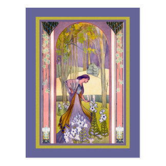 Art Nouveau Lady in the Forest Postcard