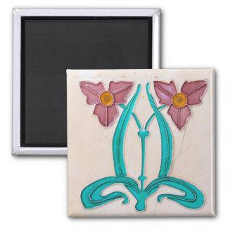 Art Nouveau Majolica Tile Magnet