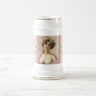 Art Nouveau Monogram Vintage Feminine Victorian Beer Stein