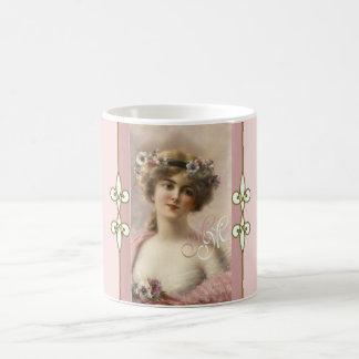 Art Nouveau Monogram Vintage Victorian Lady Coffee Mug