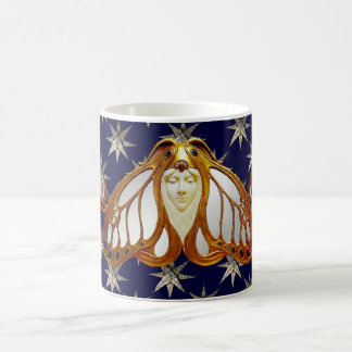 ART NOUVEAU MOTH AND DIAMOND STARS IN BLUE SKY COFFEE MUG