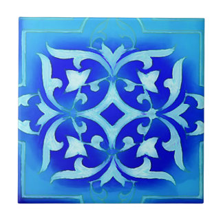art-nouveau motifs in blues ceramic tile