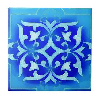 art-nouveau motifs in blues small square tile