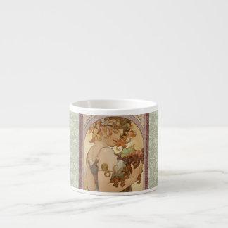 Art Nouveau Mucha Beautiful Woman Fruit 6 Oz Ceramic Espresso Cup