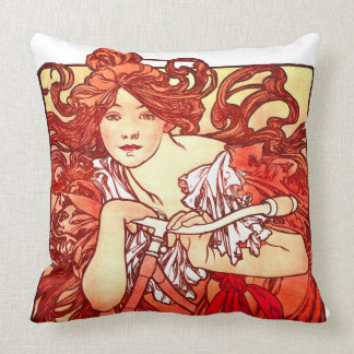 Art Nouveau Mucha Lady Bicycle Sports Throw Pillow