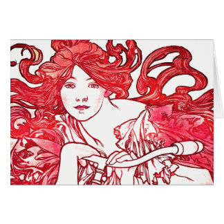 Art Nouveau Mucha Lady Bike Red Hair Card