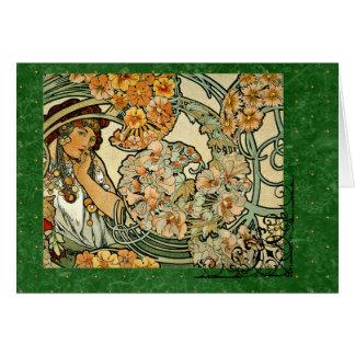 Art Nouveau Mucha Language of Flowers 1900 Card