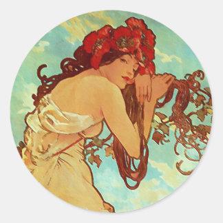 Art Nouveau - Mucha - Summer Round Sticker