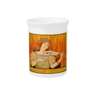 Art Nouveau Music Motif Porcelain Pitcher