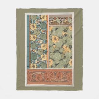 Art Nouveau Nasturtium Flowers Floral Fleece Blanket