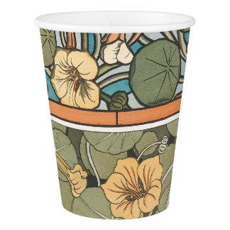 Art Nouveau Nasturtium Flowers Floral Paper Cup