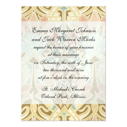 art nouveau nature floral pattern art 14 cm x 19 cm invitation card