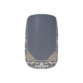 art nouveau, navy blue, gold,antique,belle époque, minx nail art