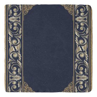 art nouveau, navy blue, gold,antique,belle époque, trivet