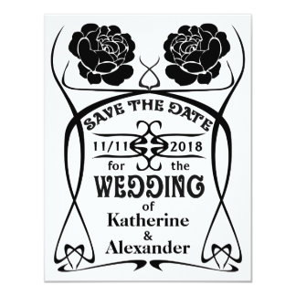 Art Nouveau Old West Rose Wedding Save the Date Card