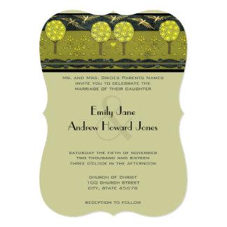 Art Nouveau Orchard Vintage Bird Wedding Invites