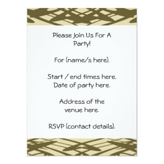 Art Nouveau Pattern in Beige and Brown. 17 Cm X 22 Cm Invitation Card