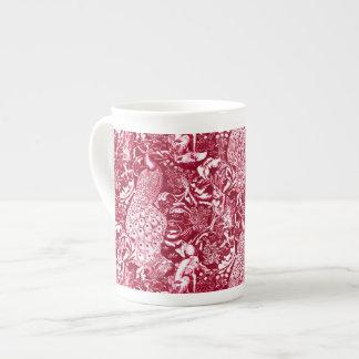 Art Nouveau Peacock Print, Burgundy Wine Tea Cup