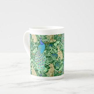 Art Nouveau Peacock Print, Cobalt Blue & Green Tea Cup