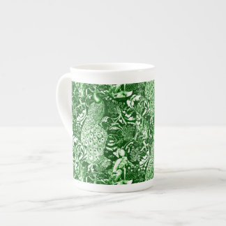 Art Nouveau Peacock Print, Forest Green Tea Cup
