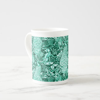 Art Nouveau Peacock Print, Turquoise and Aqua Tea Cup