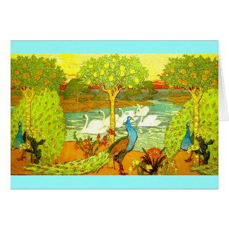 Art Nouveau Peacocks and Swans Card