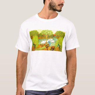 Art Nouveau Peacocks and Swans T-Shirt