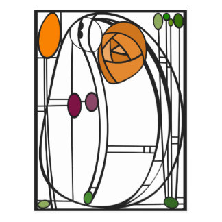 Art Nouveau Postcard in Orange