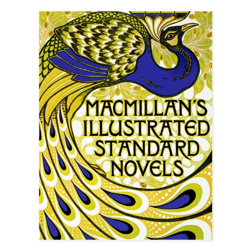 Art Nouveau Postcard: Peacock Illustration