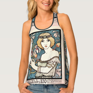 Art nouveau pretty woman with flowers singlet