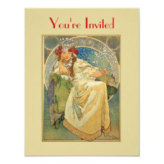 "Art Nouveau Princess Invitation Template 4.25"" X 5.5"" Invitation Card"