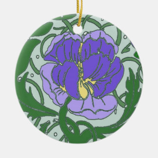 Art Nouveau Purple Peony Ornament