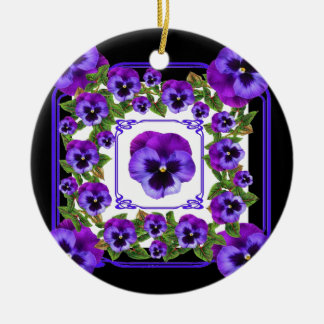 ART NOUVEAU PURPLE SPRING PANSY GARDEN CERAMIC ORNAMENT