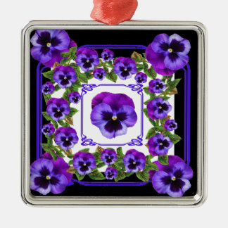 ART NOUVEAU PURPLE SPRING PANSY GARDEN METAL ORNAMENT