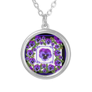ART NOUVEAU PURPLE SPRING PANSY GARDEN SILVER PLATED NECKLACE