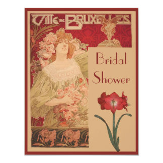 Art Nouveau Red Amaryllis & Lady Bridal Shower Card