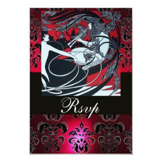 ART NOUVEAU RED BLACK WHITE DAMASK RSVP ,ruby Card