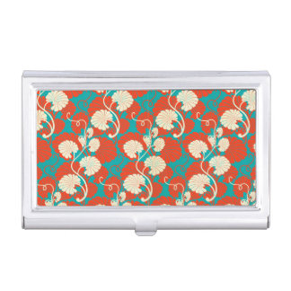 art nouveau, red,blue,beige,floral,belle époque,vi business card holder