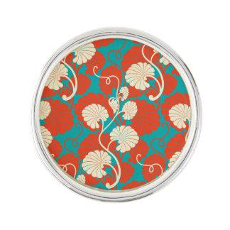 art nouveau, red,blue,beige,floral,belle époque,vi lapel pin