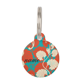 art nouveau, red,blue,beige,floral,belle époque,vi pet ID tag
