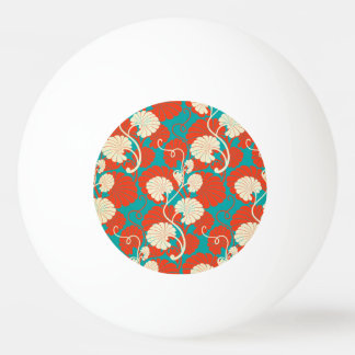 art nouveau, red,blue,beige,floral,belle époque,vi ping pong ball