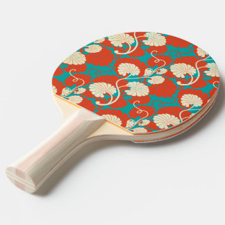 art nouveau, red,blue,beige,floral,belle époque,vi ping pong paddle