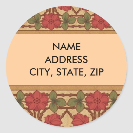 Art Nouveau Rose Design Round Sticker