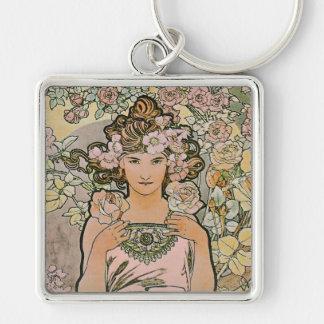 Art Nouveau Rose Flower Girl Key Chains