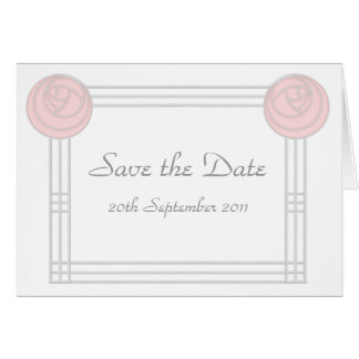 Art Nouveau Rose Frame Wedding Save the Date Card