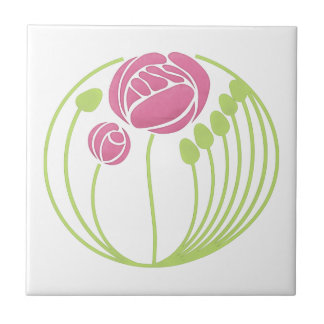Art Nouveau Rose in the Style of Rennie Mackintosh Small Square Tile